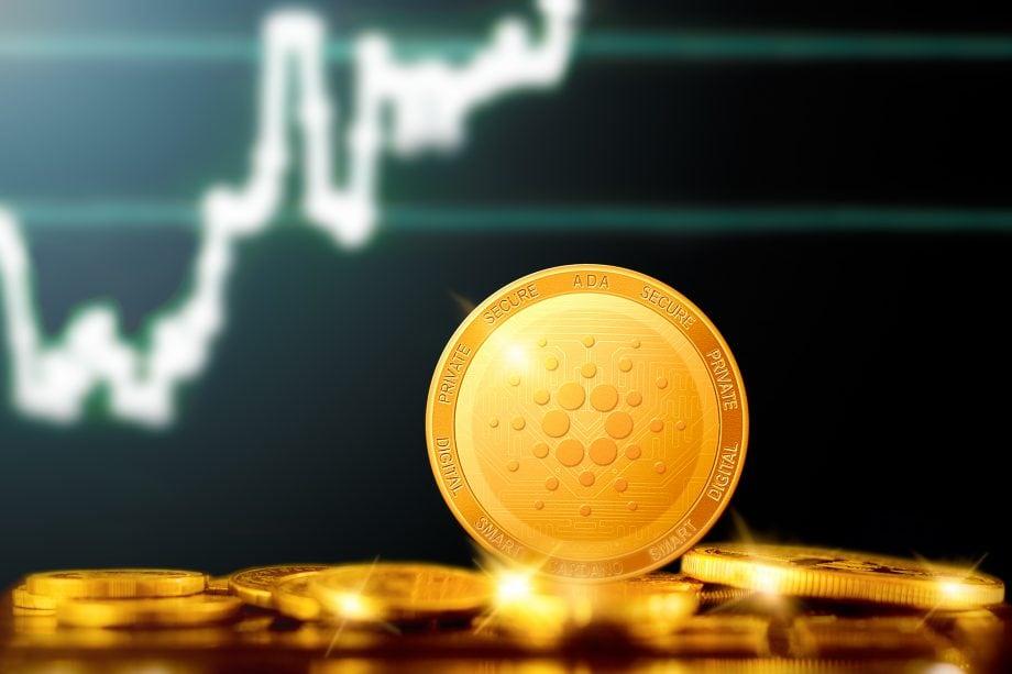 Cardano-Münze vor Chart-Hintergrund