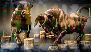 Bullen Staturen verkörpern die Börse und Tokenized Stocks.