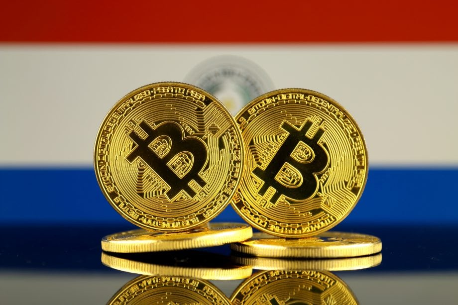 Bitcoin-Münzen vor Paraguay-Flagge