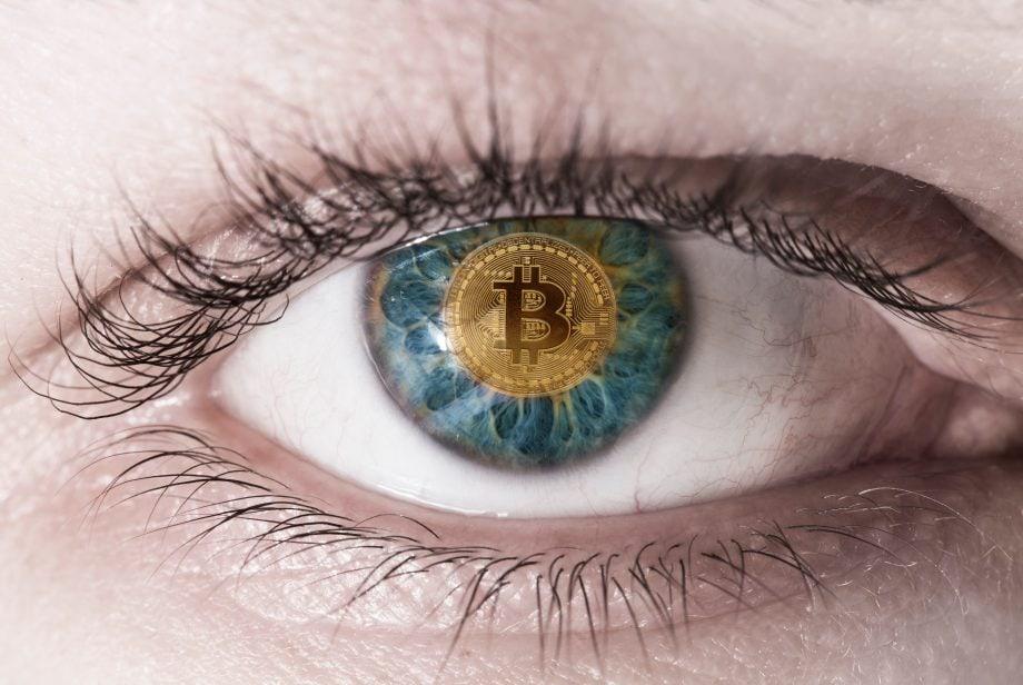 Iris mit Bitcoin-Pupille