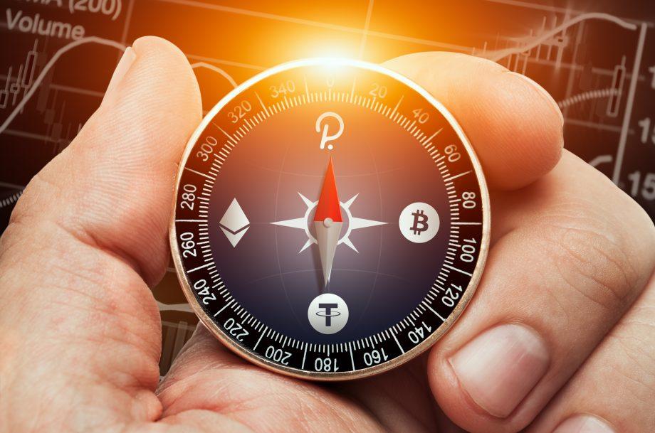 Kompass mit den Logos von Polkadot, Ethereum, Bitcoin und Tether anstelle der Himmelsrichtungen