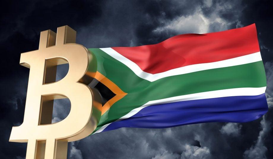 Südafrika-Flagge und Bitcoin-Logo (Grafik)