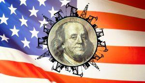 USA Flagge, die Bitcoin Mining symbolisieren soll