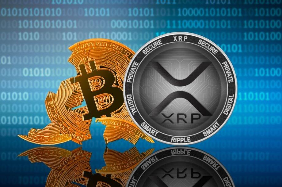 Ripple Münze vor Bitcoin Münze