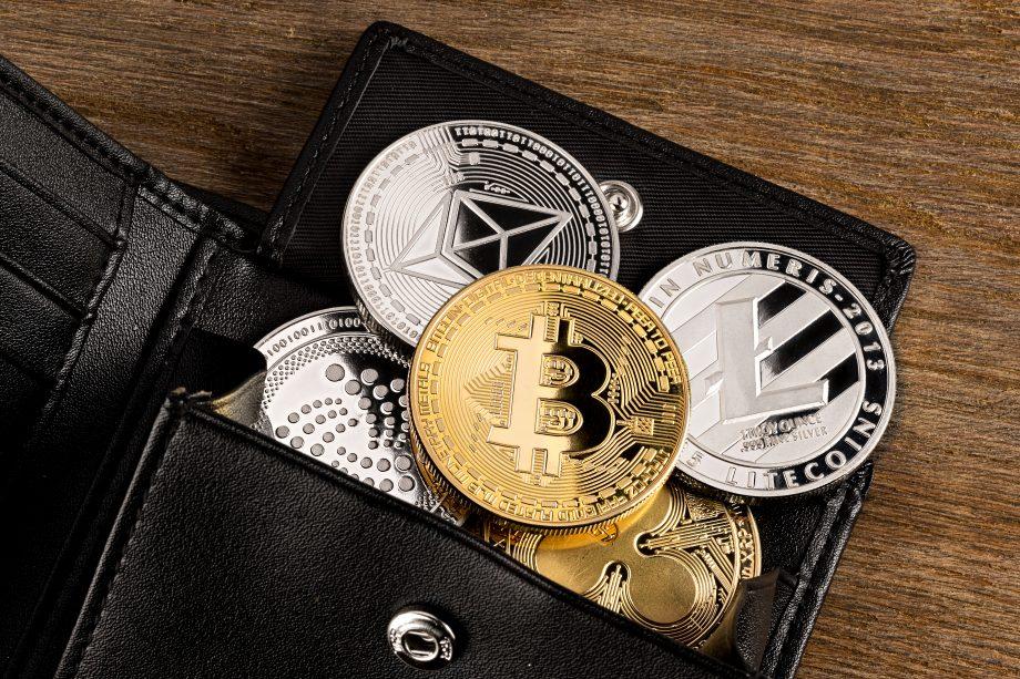 Eine Geldbörse aus der mehrere Krypto-Coins rausgucken.