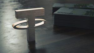 Tether Logo vor Euro-Geldündeln