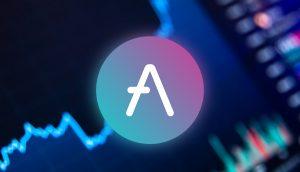 Aave-Logo vor Chart-Hintergrrund
