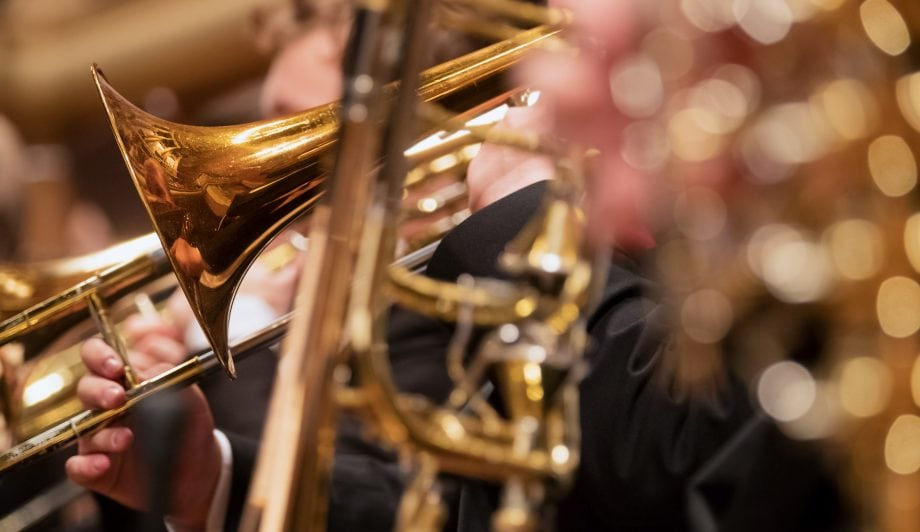 Trumpeters play in the orchestra