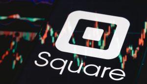 Das Logo von Square auf einem Kurschart.