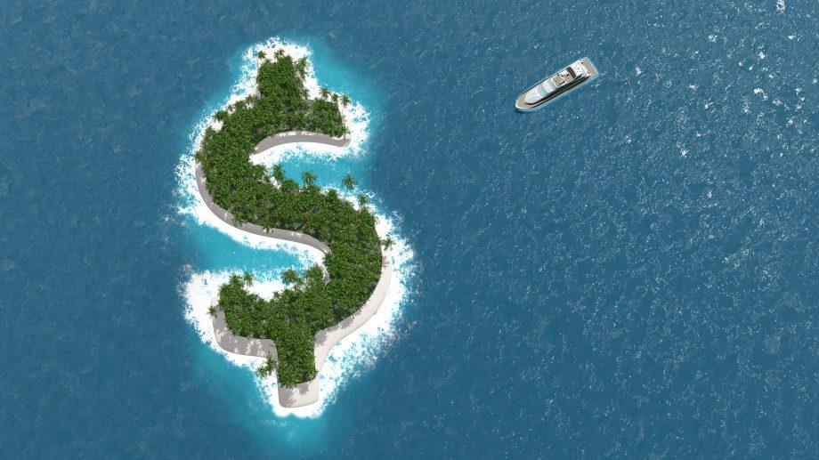 Eine Insel, die wie ein Dollar-Zeichen geformt ist.