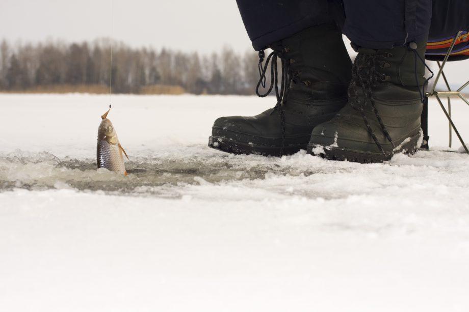 Fischer angelt Fisch aus einem Eisloch