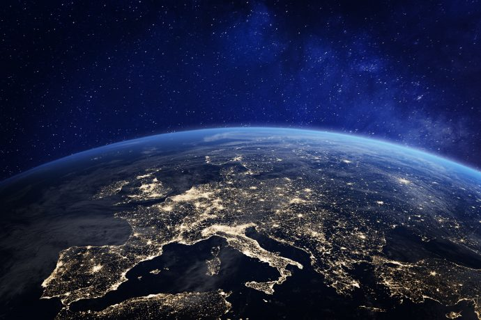 Europäischer Kontintent aus dem Weltall.