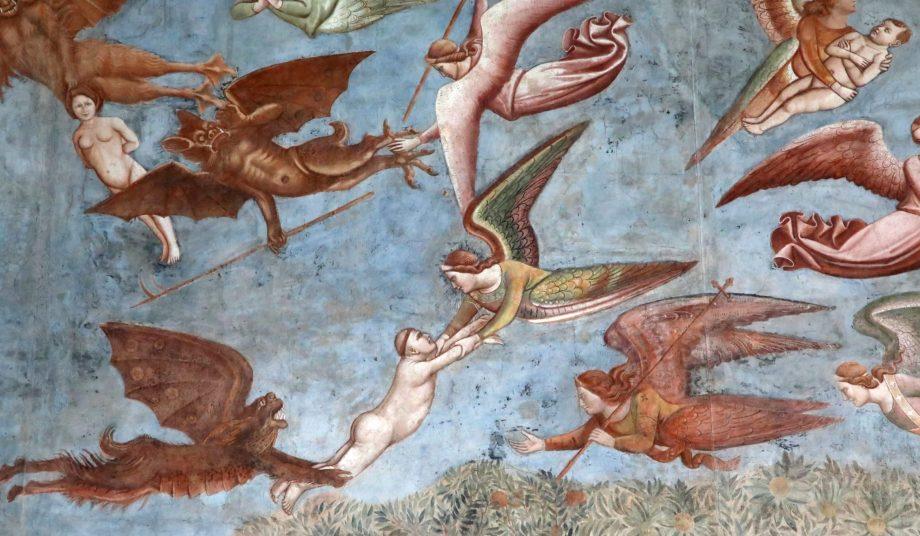 Wandmalerei von Engeln und Teufeln