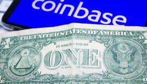 Coinbase und ein Dollar Schein