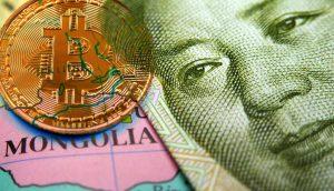 Bitcoin Münze auf Karte