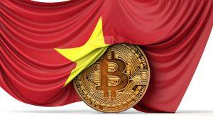 Bitcoin-Münze von vietnamesischer Flagge umhüllt