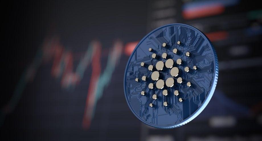 Cardano-Münze vor Kurs-Hintergrund.