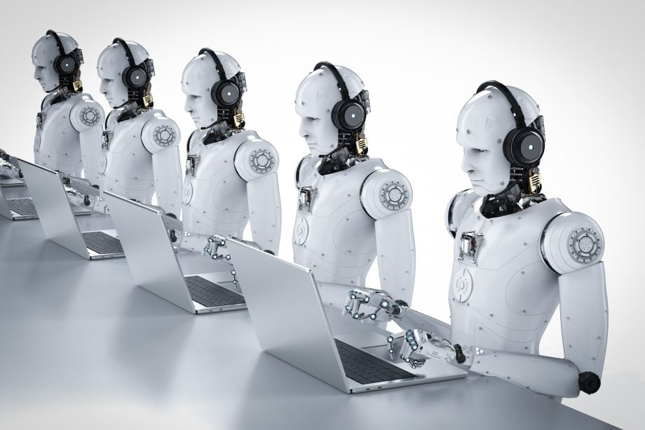 Roboter mit Kopfhörern