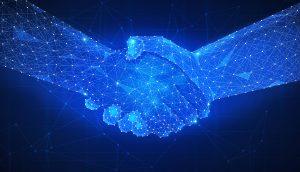 Blaue Hände Handschlag