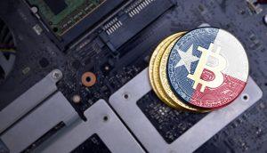 Bitcoin-Münze mit der texanischen Flagge.