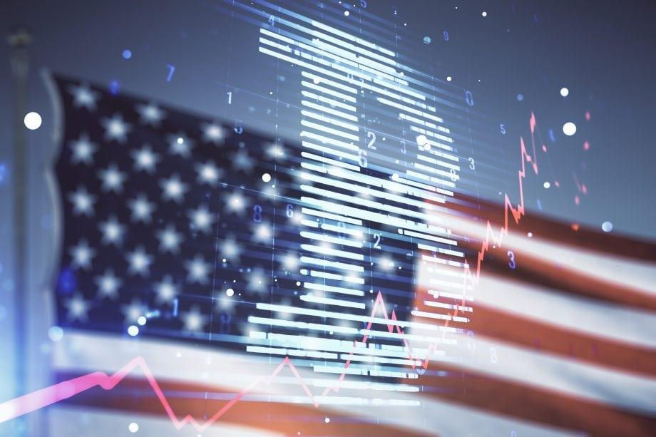 Bitcoin auf US-Flagge