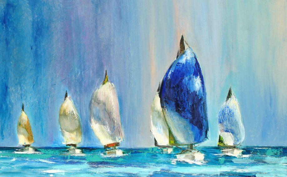 Gemälde von Segelbooten im stehenden Wind