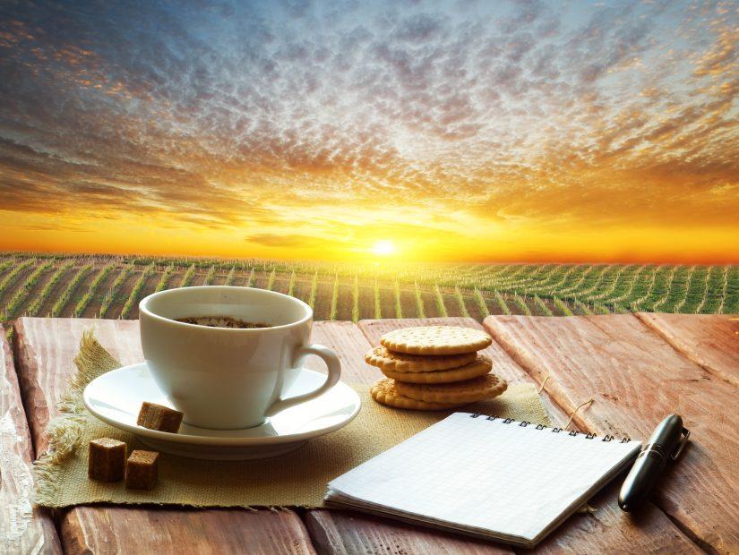 Getränk und Tasse stehen vor malerischem Hintergrund