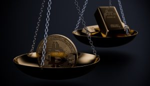 Bitcoin wiegt auf der Waage schwerer als Gold.